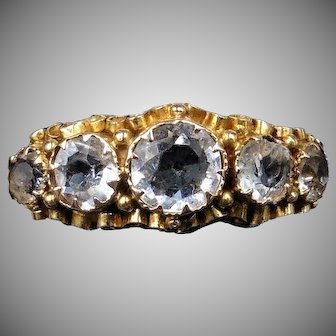 Antique Georgian Crystal Five Stone 15ct 15K Yellow Gold Scroll Ring