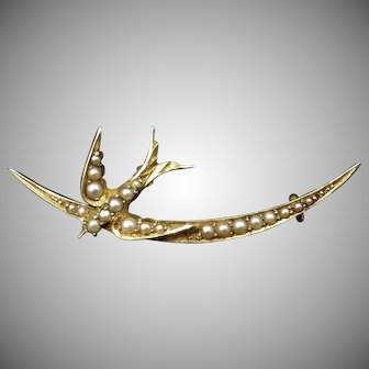 Antique Victorian Pearl Swallow Bird and Crescent Moon 15ct 15K Yellow Gold Brooch Pin