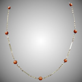 Antique Victorian Natural Coral 9ct 9K Gold Short Chain Necklace