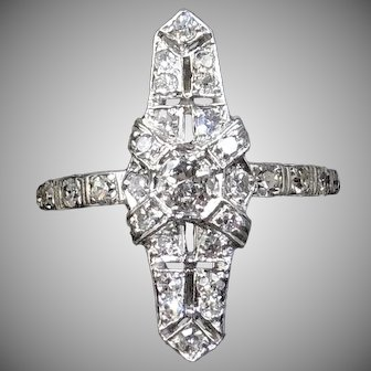 Art Deco Old Cut Diamond 18ct 18K White Gold Navette Ring