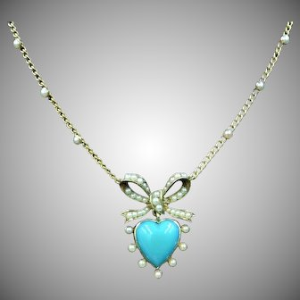 Antique Victorian Turquoise and Pearl Heart Bow 15ct 15k Yellow Gold Necklace