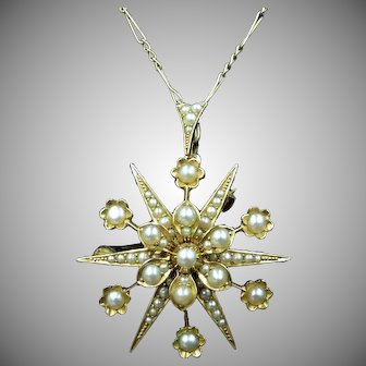 Antique Victorian Pearl Star 15ct 15K Yellow Gold Pendant and Brooch Pin