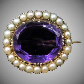 Antique Georgian Amethyst and Pearl Oval Halo 9ct 9k Yellow Gold Brooch Pin