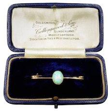 Antique Victorian Natural Opal 15ct 15k Yellow Gold Bar Brooch Pin | Boxed Circa. 1890