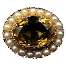 Antique Victorian Citrine and Pearl Oval Halo Cluster 9ct 9k Gold Brooch Pin | Circa. 1860