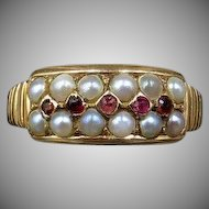 Antique Victorian Garnet and Pearl Double Row 15ct 15K Yellow Gold Ring Band Dated 1887