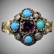 Antique Georgian Garnet Turquoise and Pearl Cluster 18ct 18K Yellow Gold Ring