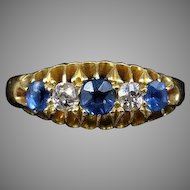 Antique Victorian Diamond and Blue Sapphire Five Stone 18K 18ct Yellow Gold Ring