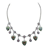 Antique Victorian Micro Mosaic Heart Drop Silver Necklace