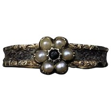 Antique Victorian Pearl Cluster Braided Hair 15ct 15K Yellow Gold Mourning Ring Band | Circa.1870