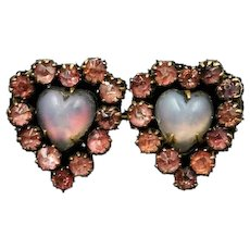 Antique Victorian Saphiret & Pink Paste Double Heart Brooch Pin