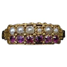Antique Victorian Natural Ruby and Pearl Double Row 15ct 15K Yellow Gold Ring Band