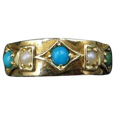 Antique Victorian Turquoise and Pearl 15ct 15K Yellow Gold Ring Band - Dated 1849