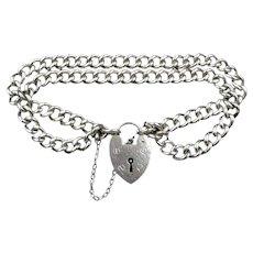 "Vintage Heart Padlock Double Sterling Silver Curb Gate Bracelet 8"""