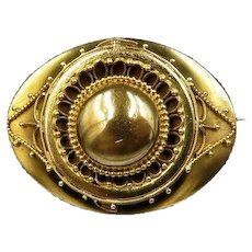 Antique Victorian Aesthetic Etruscan Gold Fill  Brooch Pin