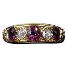 Antique Ruby and Diamond 18ct 18K Gold Five Stone Boat Ring