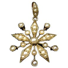 Antique Victorian Pearl Star Flower 9ct 9K Yellow Gold Drop Pendant