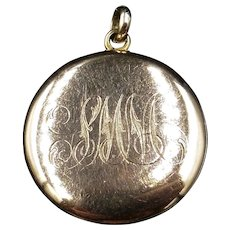 """Antique """"SMM"""" Initialed Round Four 4 Picture Family Gold Locket Pendant"""