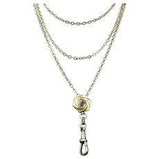 """Antique Victorian Long Guard Muff Chain Necklace with Slider 60"""" Length"""