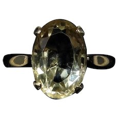 Antique Oval Citrine Solitaire 9ct 9K Yellow Gold Ring Vintage