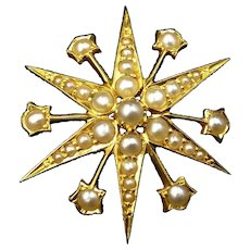Antique Victorian Pearl 12 Point Star 15ct 15K Yellow Gold Pendant