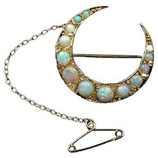 Antique Opal and Diamond Crescent Moon 9ct 9K Yellow Gold Brooch Pin
