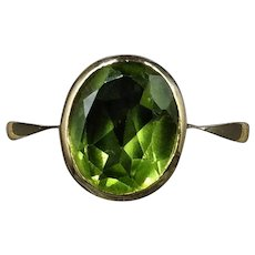 Vintage Peridot Oval Single Stone Solitaire 9ct 9K Yellow Gold Ring