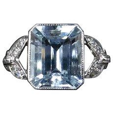 Emerald Cut Aquamarine & Diamond Platinum Ring