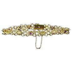 Antique Edwardian Amethyst Peridot and Pearl 15ct 15K Yellow Gold Bracelet