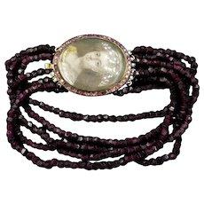 Antique Georgian Garnet Portrait Silver and Gold Multi-Strand Bracelet