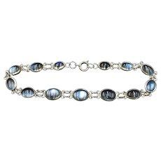 """Antique Cabochon Moonstone Sterling Silver Bracelet 6.5"""""""