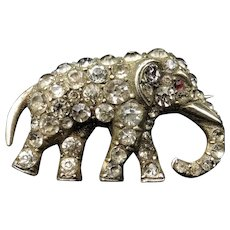 Antique Paste Sterling Silver Small Elephant Brooch Pin