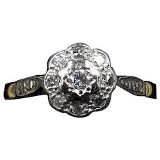 Antique Diamond Cluster Flower Daisy 18ct 18K Yellow Gold and Platinum Ring