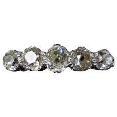 Antique Old Cut Diamond Five Stone 18K Gold & Platinum Ring 0.75ct total