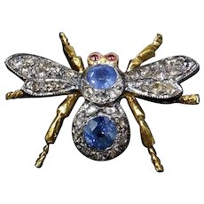 Diamond and Sapphire Bee Insect 18K Gold & Silver Brooch and Pendant