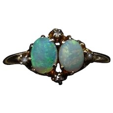 Antique Double Natural Opal Diamond and Pearl 9ct 9K Yellow Gold Ring