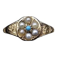 Antique Victorian Turquoise and Pearl Cluster 15ct 15K Yellow Gold Ring