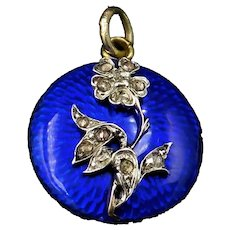 Antique Giardinetti Diamond Blue Enamel Round Glass Locket Pendant