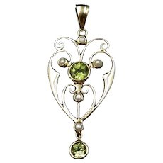 Antique Peridot and Pearl Lavalier 9ct 9K Gold Drop Pendant Art Nouveau