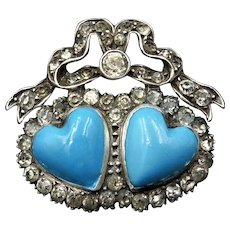 Antique Blue Enamel and Paste Sterling Silver Double Heart and Bow Brooch Pin