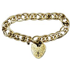Antique Fancy Heart Padlock Curb 18ct Gold Gilded Bracelet
