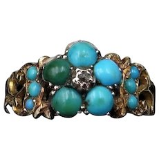 Antique Turquoise & Diamond 'Forget Me Not' Flower Cluster 15K Yellow Gold Ring