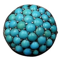 Antique Victorian Pavé Turquoise Bombé Cluster 9ct Yellow Gold and Silver Ring