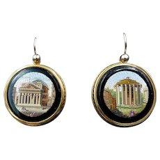 Antique Micro Mosaic Grand Tour Italian Gold Earrings