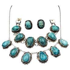 Art Deco Blue Porcelain Scarab Beetle Silver Full Set Suite - Necklace Earrings Bracelet