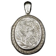 Antique Victorian Stork Bird Engraved Oval Sterling Silver Photo Locket Pendant
