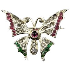Antique Red and Green Paste Silver Butterfly Insect Brooch Pin