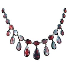Antique 19th Century Flat Cut Garnet Full Riviere Necklace in 9ct Gold 16""