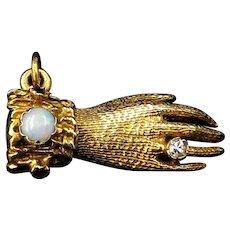 Vintage Opal Diamond Ruby & Cabochon Garnet Gloved Hand Figa 9K Gold Pendant Charm