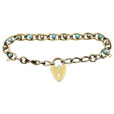 Antique Turquoise and Pearl Heart Padlock Curb 18ct Rolled Gold Bracelet